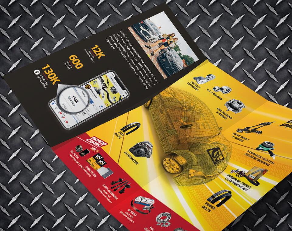auto parts brochure design for Gaido Malaysia