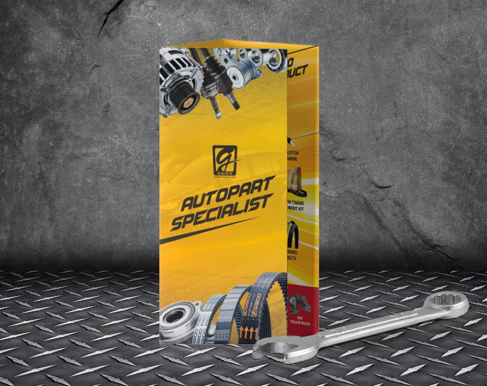 car parts brochure design for Gaido Malaysia