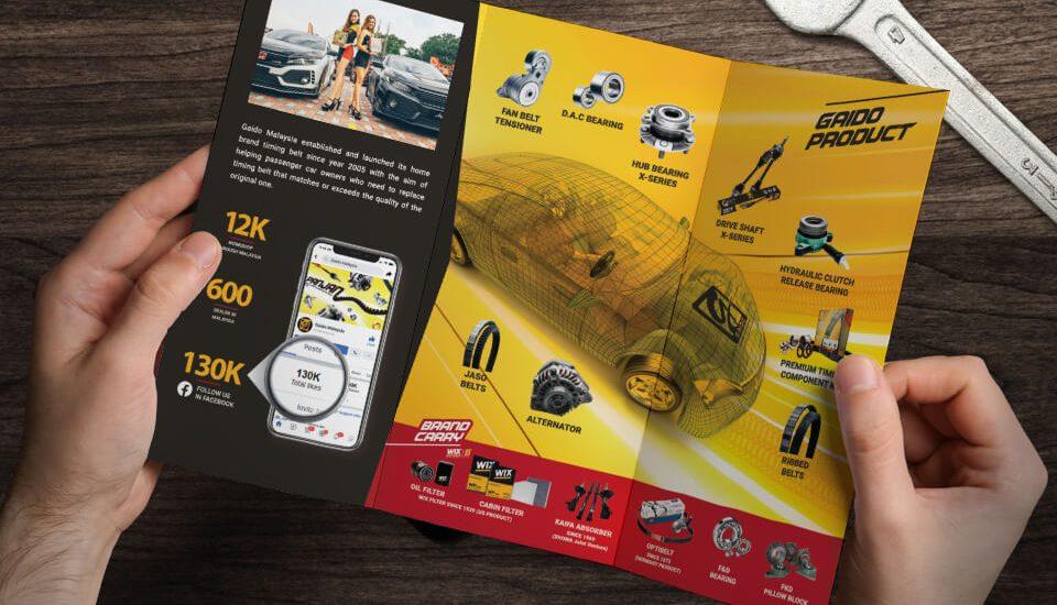 spare parts brochure design for Gaido Malaysia